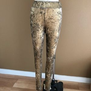 6e87d75a01e0da Topshop Pants | Metallic Gold Shiny Foil Velvet Leggings | Poshmark